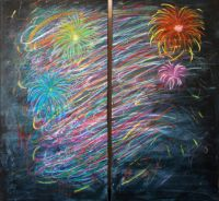 Celebration - $1500 - Dimensions:  2 / 48 x 36 x 2.75 - Material: Acrylic