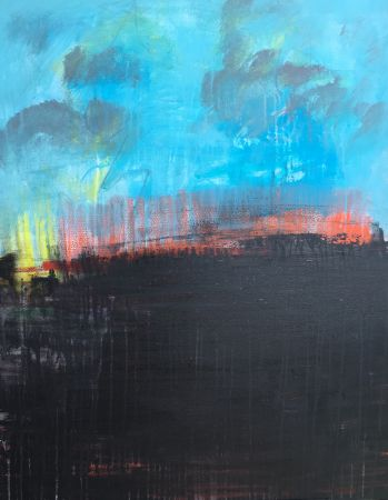 Blue Landscape Painting  - 30x48 - Mixed Media on Canvas